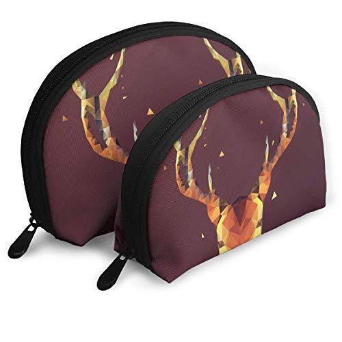 Trousse de Maquillage Stag Portable Shell Organisateur de Toilette pour Les Femmes Thanksgiving Day Gift 2 Pack