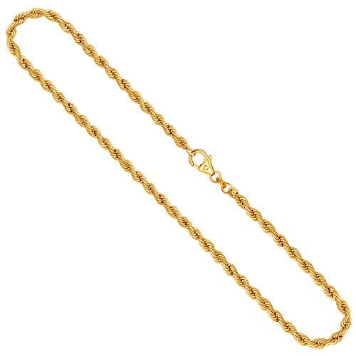 Goldkette, Kordelkette hohl Gelbgold 585 / 14K, Länge 50 cm, Breite 3.3 mm, Gewicht ca. 6.4 g, NEU