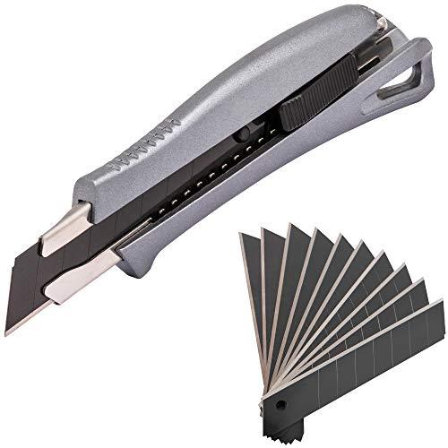 Narot Aluminium Cuttermesser inkl. 11 beschichteten Klingen - Teppichmesser mit Auto-Lock | Profi Cutter 18mm