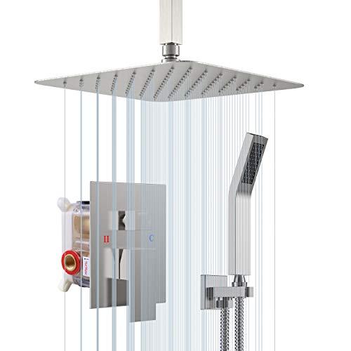 Sistema de ducha con soporte de techo de níquel cepillado de 10 pulgadas - Mezclador de ducha oculto - Tecnología avanzada de inyección de aire - Fácil instalación - Respetuoso con el medio ambiente