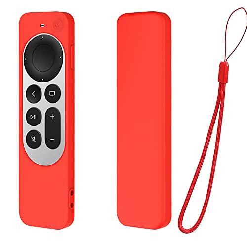 FLYAMAPIRIT Remote Case Silikonhülle Ersatz für Apple TV 4K Series 6. Generation 2021 Siri Remote Control Schutzhülle mit Lanyard (Rot)