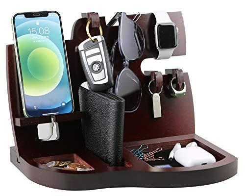 Base de carga para teléfono de madera roja con soporte para llaves, monedero, cartera y reloj, organizador para marido, mujer, regalo, padre, cumpleaños, mesita de noche