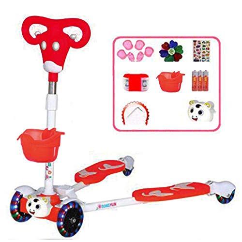 SCJ Scooters de Parpadeo de Acero Inoxidable con 4 Ruedas LED, Patinete Plegable con patrón de Becerro Rojo Freestyle para niñas y niños de 8 años en adelante