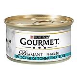 PURINA Gourmet Diamant Copos de atún húmedos de gele, 24 latas de 85 g Cada una (Paquete de 24 x 85 g)