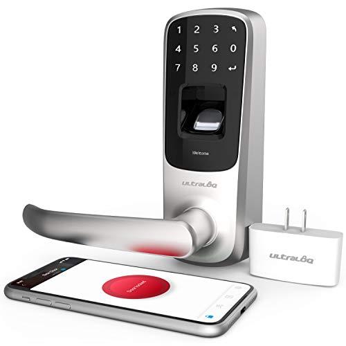 ULTRALOQ UL3 BT 2da generación cerradura inteligente con puente wifi, Teclado electrónico, desbloqueo de huellas dactilares, APP de control remoto, níquel satinado