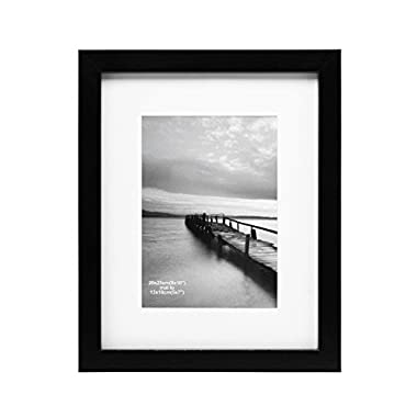 8x10 Picture Frame Made to Display Pictures 5x7 with Mat or 8x10 without Mat - Wide Molding Wall Tabletop Desktop Black