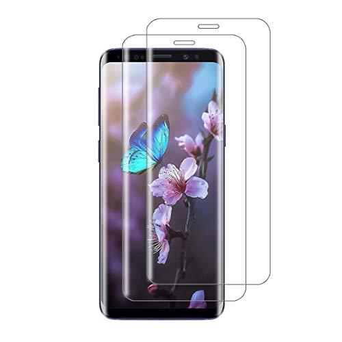 XSWO 2 Unidades Cristal Templado para Galaxy S9 Plus, Protector de Pantalla Samsung Galaxy S9 Plus, [3D Cobertura Completa] [Anti Arañazos] [Fácil Instalar] [Sin Burbujas] [9H Dureza] Vidrio Templado