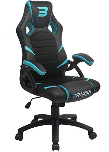 BraZen Puma Blue PC Gaming Chair & Office Max Support 120 KG Human Weight-Made from Faux Leather & High Quality Steel Frame-360 Degree Swivel Capability-Office Chairs with Arms, 120