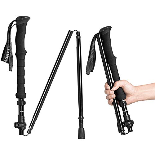CLINE Collapsible Walking Stick for Travel, Adjustable Lightweight Trekking Trail Hiking Pole Fit for Women Men's Height 4.9-6.3(ft),Best Gift for Hikers Backpackers & Campers, Dark Black