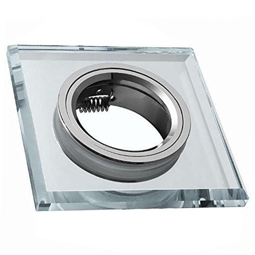 Preisvergleich Produktbild Glas Einbaustrahler Einbauleuchte Rahmen Glas Eckig Strahler Spot inkl. GU10-Fassung für MR16 Leuchtmittel