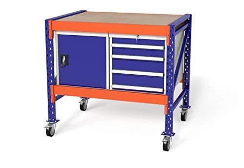Werkbank Packtisch Werkstatttisch mit Rollen von TOPREGAL, B120xH104xT80cm, Multiplexplatte, 1x WST / 1x WS4