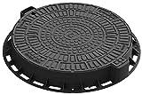 Mercagreen-35188-80L-Tapa de Alcantarilla de Plástico, Negra, 1 Und