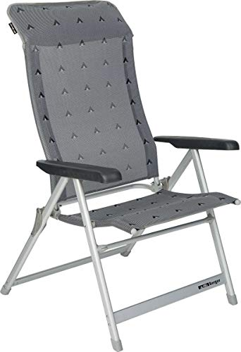 BERGER Klappsessel Luxus XL, grau, Aluminium, Belastbar bis 200 kg, breite Sitzfläche 57 cm, Klappstuhl, Campingstuhl