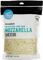 Amazon Brand - Happy Belly Shredded Low-Moisture, Park-Skim Mozzarella Cheese, 16 ounce