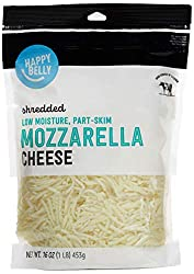 Amazon Brand - Happy Belly Shredded Low-Moisture, Park-Skim Mozzarella Cheese, 16 ounce
