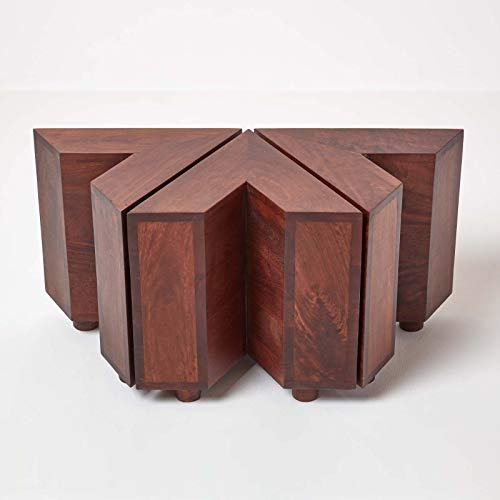 HOMESCAPES Dakota Dark Wood Nest of 3 V Shaped Compact Side Tables 100% Solid Mango Hardwood (No Veneer)