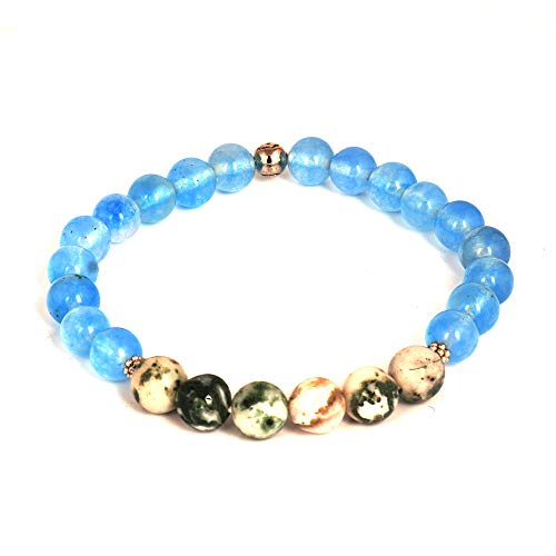 8mm Round Beaded Blue Onyx and Green Agate Natural Gemstone Stretchy Bracelet 7 Inch Girls Women Collection