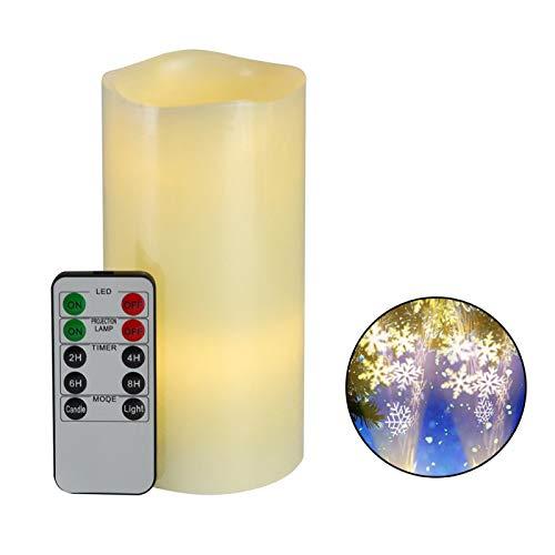 Lámpara de proyección de vela LED de Navidad, proyector de nieve, sin llama, con control remoto, para el hogar, fiesta, boda, interior de Navidad