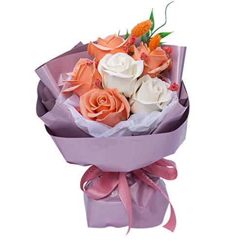 Igemy Bouquet de fleurs séchées Cadeau de Saint Valentin Décoration de maison Mariage Orange
