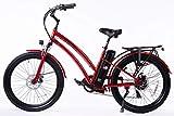 SOHOO 48V500W13Ah 26' Step-Thru Beach Cruiser Electric Bicycle City E-Bike Mountain Bike (RED)