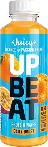UPBEAT Juicy Protein Water 12x 500ml | High Protein, Zero Sugar, Energising B Vitamins | Orange & Passion Fruit