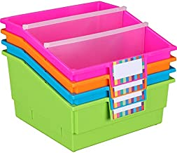 """Really Good Stuff Large Plastic Book and Organizer Bins, Dividers, Built-in Label Holder, 13½"""" by 13½"""" by 7¾"""" (Neon Set of..."""