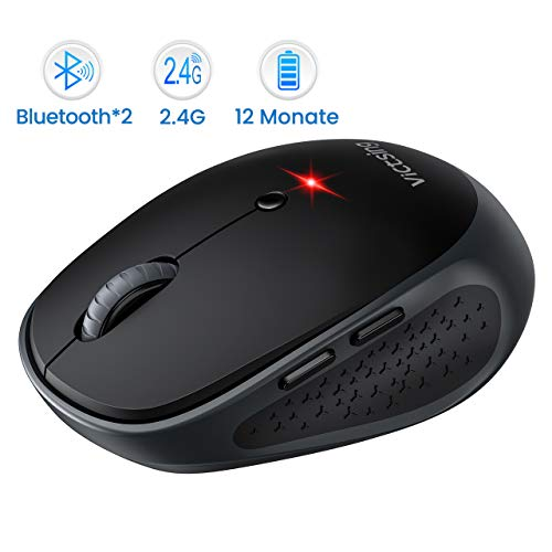 VicTsing Bluetooth Maus Multi-Device Silent Funkmaus für Windows 10/Mac OS/Android/iPad, Laptop Maus kabellose Maus klein mit 6 Tasten, 800/1200/1600/2000/2400 DPI, 12 Monate Akkulaufzeit (DREI-Mode)