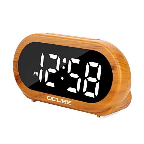 OCUBE Digital Alarm Clock, Bedside Clock with 5 Optional Alarm Sounds, 0-100% Dimmer, Adjustable Alarm Volume, Easy to Use, USB Charger, Big Digit Display, Snooze, 12/24Hr, Mains Powered(Wood Grain)