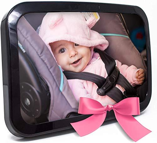 Baby & Mom Espejo para asiento trasero de bebé, espejo de visión trasera, cristal convexo inastillable, totalmente montado, probado y certificado para seguridad, color negro
