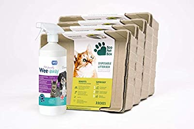 RSPCA 1L Wee-Away Stain and Odour remover with 4 x 3 pack Eco Pet Box Odourless and Leak Free Cat Litter Box Disposable Tray from Assured Products Limited