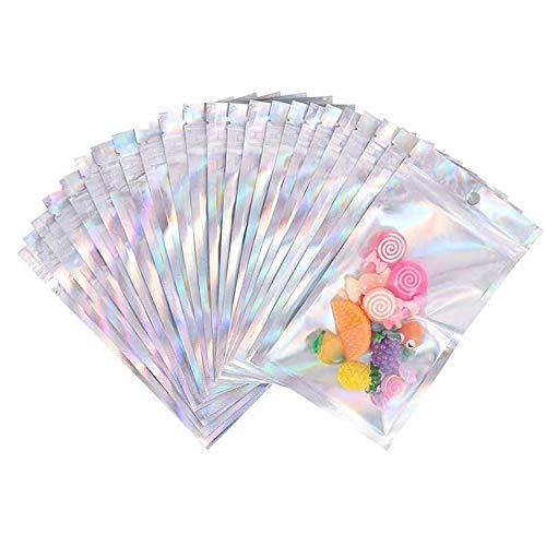Dulau 100 Piezas Bolsa de Papel Aluminio, Bolsas a Prueba de Olores Resellables, Bolsas de Holográficas Bolsa de Regalo de Arco Iris para Favores de Fiesta, Almacenamiento de Alimentos