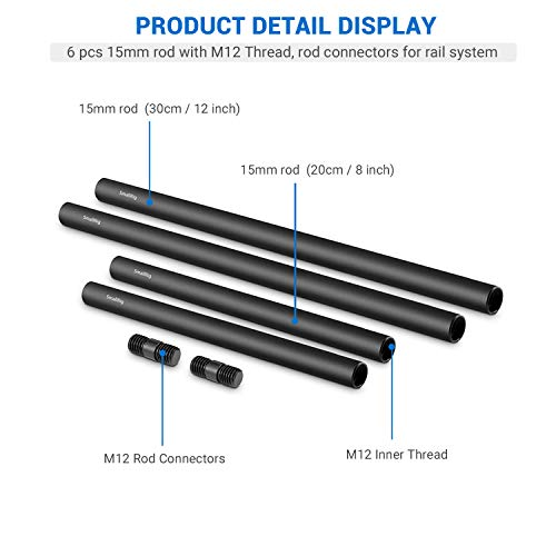 SMALLRIG 15mm Rods Pack with M12 Thread Rod Cap Connectors Aluminum Alloy Rods Combination for for Rig Mattebox Follow Focus 15mm Rod System - 1659