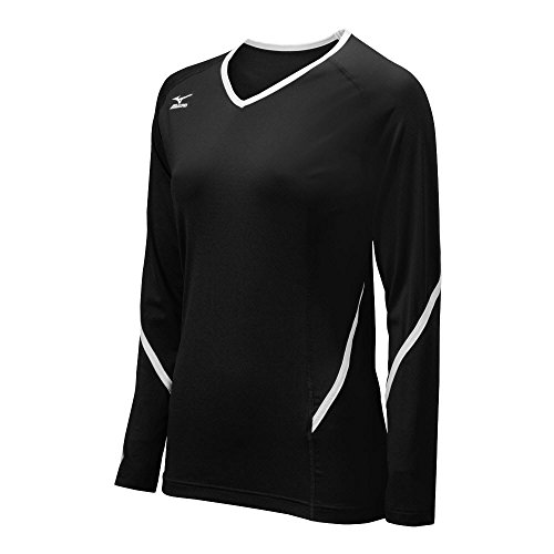 Mizuno Women's Techno Generation Long Sleeve Jersey, Black/White, Medium