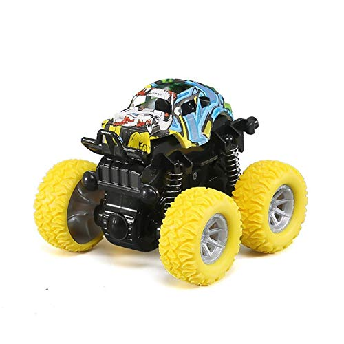 La fricción inercial Mini Off-Road de vehículos SUV Juguetes Carro de cuatro ruedas unidad de plástico de juguete for niños Stunt Car Auto en muchachos de los niños ( Color : Mix yellow , Size : A )