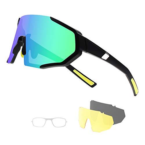 DUDUKING Gafas Sol Polarizadas Hombre Mujer Gafas de Sol Deportivas UV 400 Protección Gafas con 3 Rodajas De Lentes Intercambiables para Ciclismo Correr Golf Beisbol Surf Conducción Esquiando 🔥