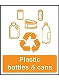 "Caledonia Signs 26618A - Cartel de vinilo autoadhesivo con texto en inglés ""Plastic Bottle & Cans Recycling"" (100 x 75 mm)"