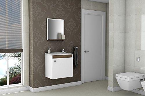 Gabinete Armário para Banheiro com Pia Siena Branco_Avelã