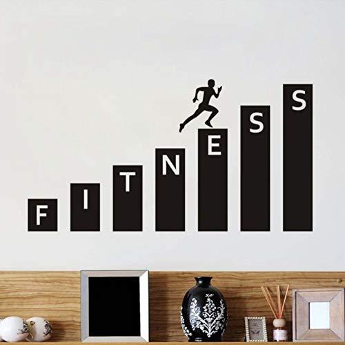Xqi wangpu Fitness Gym Wandaufkleber Gesunder Lebensstil Gesundheit Laufende Kunst Wandbilder Abnehmbare Selbstklebende Tapete Schlafzimmer Aufkleber Wohnkultur 107X57cm