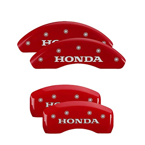 MGP Caliper Covers 20225SHONRD Red Brake Covers Fits 2019-2020 Honda Accord with 2.0L Turbo Engraved with Honda (Front/Rear Covers; Set of 4)