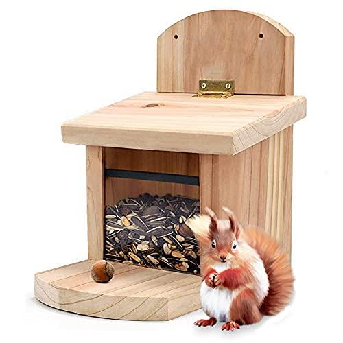 Queta Estación de alimentación de ardilla Comedero para ardilla resistente a la intemperie Casa de madera para ardillas y animales salvajes 23x17x22 cm