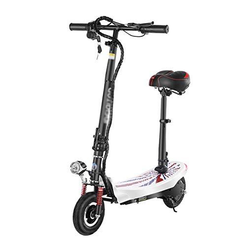 MEETGG Scooter eléctrico E Scooter para adultos con asiento fácil de llevar, altura plegable, ajustable, 350 W, velocidad máxima de 35 km/H (color: negro)