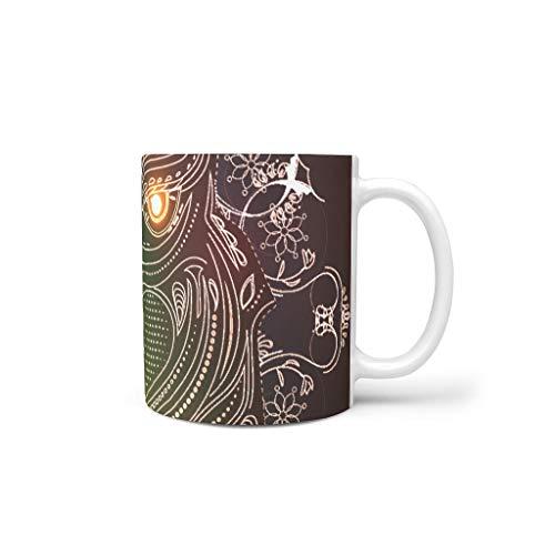 O2ECH-8 11 Oz Goldeule Getränke Kaffee Tasse mit Griff Glatte Keramik Funny Becher - Chanukka Geschenke, Geeignet für Restaurant verwenden White 330ml