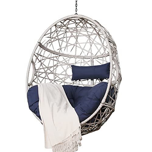 Ulax Furniture Outdoor Patio Wicker Hanging Basket Swing Chair Tear Drop Egg Chair with Cushion (Navy)