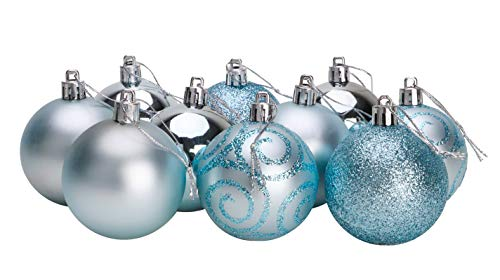 Pack of 10-60mm Shatterproof Baubles - Baubles Christmas Tree (Azul Hielo)