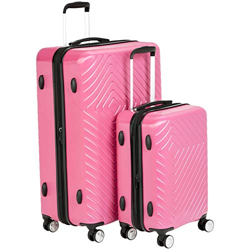 Amazon Basics 2 Piece Geometric Hard Shell Expandable Luggage Spinner Suitcase Set - Pink