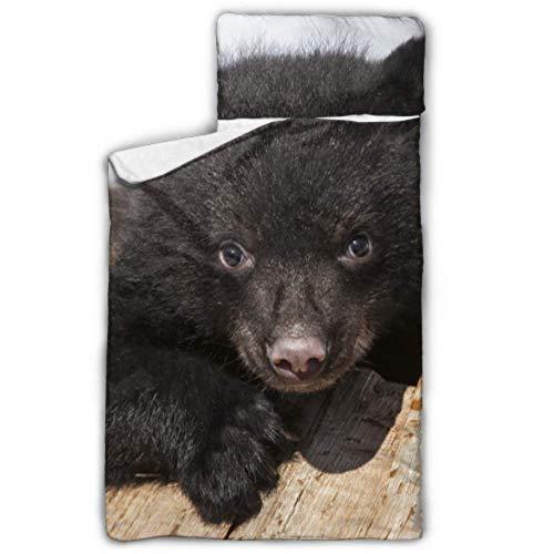 WYYWCY American Black Bear Cub Klettern Spielen Kinder Camping Schlafsack Beste Nickerchen Matte Mit Decke Und Kissen Rollup Design Ideal Für Vorschulkindergarten Sleepovers 50