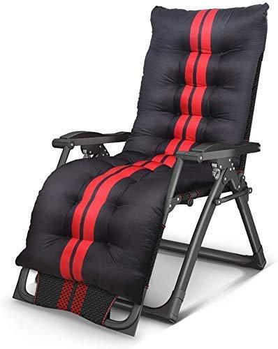 N/A Liegestühle, verstellbar, Sessel, Zero Gravity, Klappstühle, Sonnenliege für Strand, Terrasse, Garten, Outdoor, Camping, (Farbe: schwarz und rot), Schwarz Rot + Wattepad