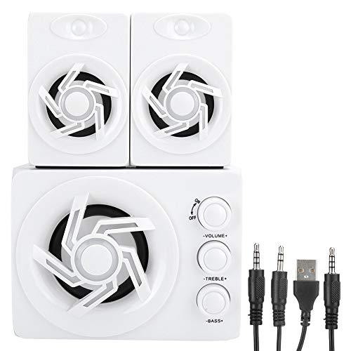 VBESTLIFE PC-Kombinationslautsprecher, Mini-Haushalts-3D-Surround-Lautsprecher-Subwoofer mit 7 farbigen Atemlichtern, für Desktop-Computer/Laptop/Mobiltelefon, Weiß