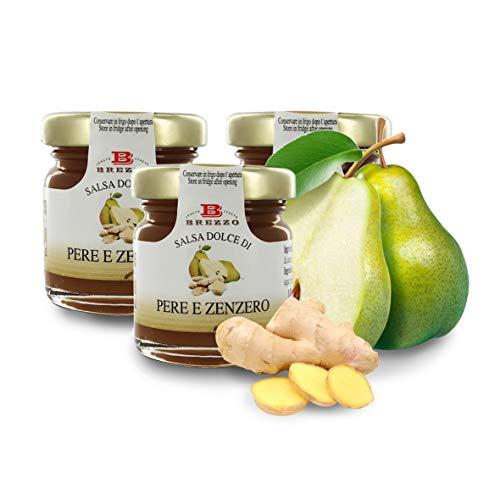 Salsa Dolce alle Pere E Zenzero, Confettura di Pere E Zenzero per Formaggi, 40 Grammi (Confezione da 3 Pezzi)