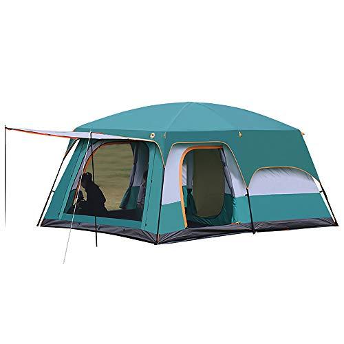 Tenda da 2 camere, tenda familiare con camera e finestre per campeggio, UV 50 +, impermeabile, anti-zanzara, facile da installare, portatile, per tutte le stagioni (L, per 8-12 persone)